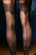 Back Seamed Garter Effect Pantyhose