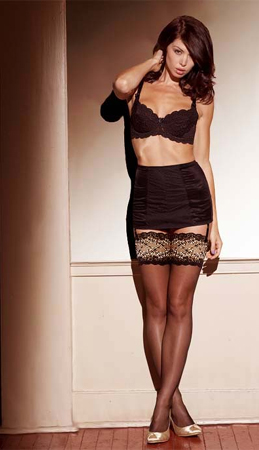 Kristen Black and Red Oriental Lace Top Design Stockings