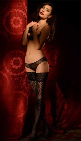 Leopard openwork lace top stockings
