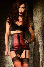Christmas Lingerie, Red and Black Lace Waist Cincher