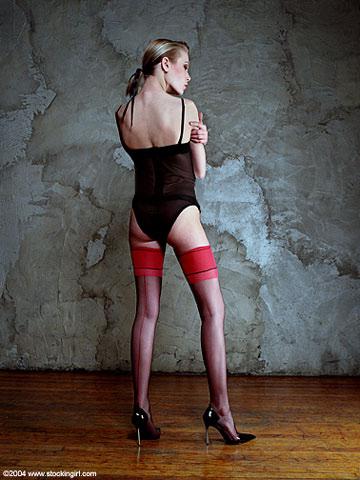 Vintage 1950's Style!  Retro Bi-Color Black/Red Seamed French Heel Nylon Stockings: Stockings, Hosiery and Thigh Highs by Stockingirl, Nylon Stockings, Pantyhose Online